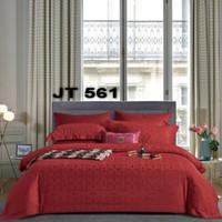 BIOSIBEDDING Set Sprei dan Bed Cover Jacquard Tencel Warna Biru Merah