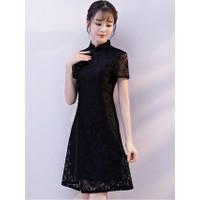 Mini Dress Cheongsam Hitam - Mini Drees Brukat + Satin - Mini Dress - M