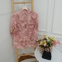 Kemeja Denim Tie Dye Premium all size / Pakaian wanita / Atasan Wanita - Ungu Muda