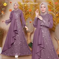 Baju Gamis Wanita Terbaru Maxi Zulana S-M LD 90 Cm Dress Modern Brukat