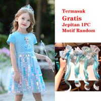 Baju Dress Anak Princess Frozen Elsa Anna Sequin Sparkle Impor