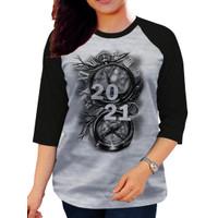 Baju Kaos Oblong Raglan 2021 Wanita Lengan 3/4 Tshirt Murah Distro