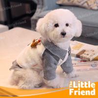 Baju Puppy Anak Anjing Kucing Jantan Kemeja Berkerah Kotak Kotak Hitam