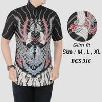 Kemeja slimfit pria,Baju batik cowok Lengan pendek OB 457