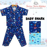 Piyama Anak / Baju Tidur Anak Katun Baby Shark