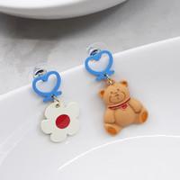 Anting Anting Korea bunga dan boneka beruang teddy bear lucu imut unik
