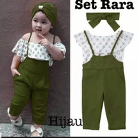baju jumpsuit anak perempuan RARA . allsize 3-6 tahun - Army