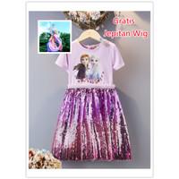 Baju Dress Anak Princess Frozen Elsa Anna Sequin Sparkle Impor - Pink, 120cm