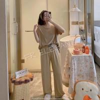 piyama import wanita / baju tidur kaos premium / setelan piyama wanita - Cream