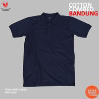 Kaos Polo Shirt Lengan Pendek Navy Blue Cotton Pique 24s