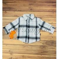 [2 - 5 Tahun] Baju Kemeja Jalan Bayi Anak Putih Garis Hitam EOBaby K01