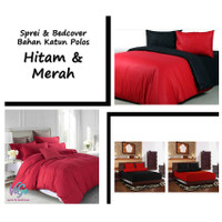 Vige Bedcover Set Kombinasi Warna Hitam & Merah Size Double  Betcover