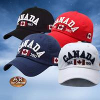 Topi Baseball Sport Olahraga CANADA Topi Santai Pria Topi Sport Distro - Hitam