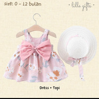 SUMMER SET- DRESS TOPI SETELAN BAJU BAYI PEREMPUAN/ SIZE BABY 0-12 - Pink