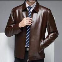 jaket kulit asli pria domba super model semi formal warna coklat tua