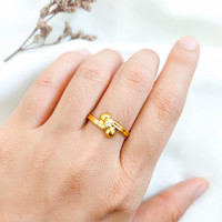 Restock Cincin silang permata wanita minimalis korean style emas asli