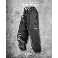 Daymoton Celana Jas Hujan Rene Series Bahan Campuran Parasut dan Karet - Hitam, XXL