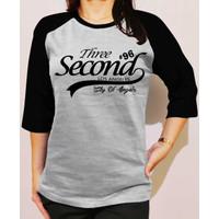 Baju Kaos Oblong Raglan 3SC Wanita Lengan 3/4 Tshirt Murah Distro