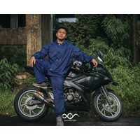 Daymoton Jas Hujan Motor Raven Bahan Mix Parasut & Karet All size - Navy, XXL