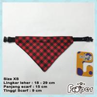 Kalung Anjing Kucing Scarf Bandana Collar XS Black and Red Plaid