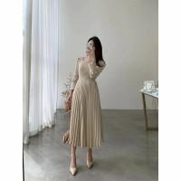 Kesha Plisket Midi Dress Import Dress Wanita Polos Import