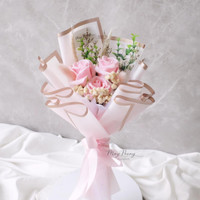 3 STEM ROSE SOAP FLOWER BOUQUET - BUKET BUNGA SABUN KADO WISUDA SIDANG - Full Light Pink