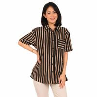 Atasan Wanita Baju Kemeja Lengan Pendek Salur Garis - Mocca, L