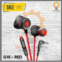 Plextone G15 Stereo Earphone Headset Microphone Wired Magnetic Gaming - Merah