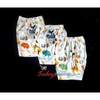 3 pcs RIFANI Celana Putih Pendek Bayi Motif Uk S, M, L, XL SNI - S