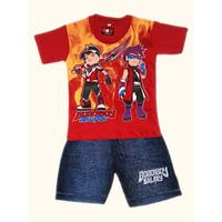 Setelan Baju Anak Laki Laki Karakter Boboiboy Usia 5-8 Tahun - L, Merah