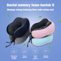 Bantal Leher Memory Foam Traveler Bentuk U - Coffe