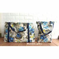 Paket Tas Kanvas Motif Bunga Biru (Large & Medium) - Tanpa Resleting
