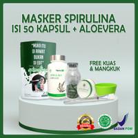 Masker Spirulina Tiens Asli Eceran Isi 50 Kapsul + air mawar 60ml