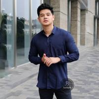 Baju Kemeja Lengan Panjang Casual Pria Polos Navy Ada Big Size XXXL - M