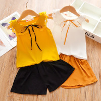 Setelan Import Kaos T-Shirt Anak Perempuan Pendek Set Motif Pita/Daun
