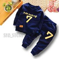 Baju Setelan anak laki laki telan anak laki laki Baju anak laki laki - Navy, 1-2 tahun