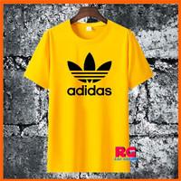 Kaos Adidas - Baju Adidas Wanita Pria Kuning Bahan Katun Size S M L XL - S