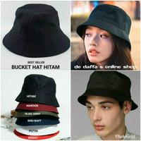Topi bucket Hat dewasa Hitam polos pria wanita - hitam