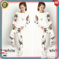 Setelan Baju Santai Putih Anak Perempuan Cewek Import 4 5 6 7 Tahun