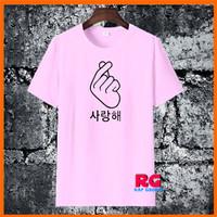 Baju Kaos Wanita Pria - Kaos Saranghae Love Korea - Pink - S M L XL - S