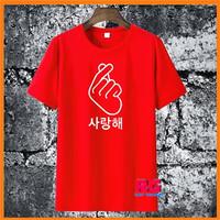 Baju Kaos Wanita Pria - Kaos Saranghae Love Korea - Merah - S M L XL - S