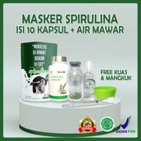 Masker Spirulina Tiens Isi 10 Kapsul Original Segel + air mawar