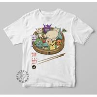 Kaos Anak Baju Anak Anime Game Pokemon Pikachu Bento Monster Ramen - Putih, S