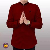 Baju Koko Pria Lengan Panjang KURTA RAJA PAKISTAN SIZE M,L,XL - Maroon, M