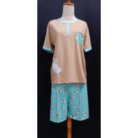 Baju Tidur Wanita Anne CL All Sz (CUTE OTTERS)st.lengan pdk celana pdk - Cokelat