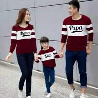 Kaos keluarga lengan panjang papa mama kids /couple family baju couple