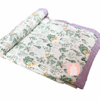 CozybyChloe muslin Blanket 70%bamboo 30%cotton-Blossom spring large