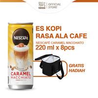 NESCAFE Kopi Minuman Kaleng Caramel Macchiato 220ml 8pcs Gratis Hadiah
