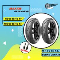 PAKET BAN MAXXIS GREENDEVIL MOTOR BEBEK 90/80 - 100/80 Ring 17