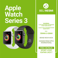 Apple Watch Series 3 GPS 38 & 42 mm Alumunium with Black Sport Band - Silver 38mm